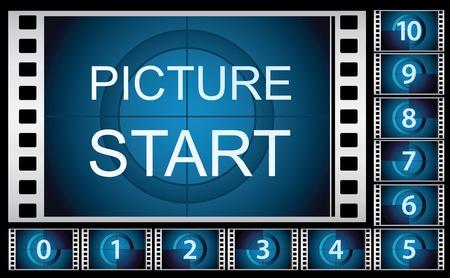 Ilustración vectorial de fotogramas de la película cuenta regresiva.
