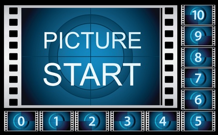 Vector illustration of countdown film frames.
