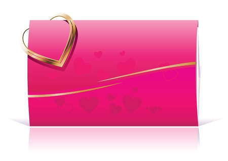 Pink Envelope and Golden Heart