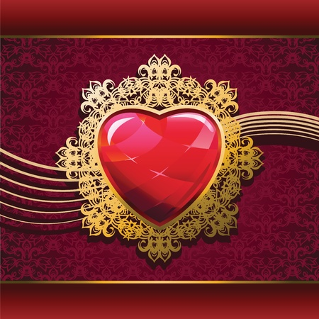 Ruby heart in golden frame on floral background Vector