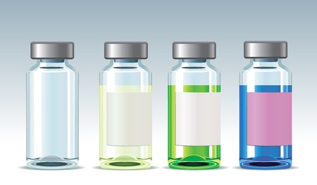 Three medicine bottles with drugs of different colors and empty bottle. EPS 8 (no mesh, no transparency). Three layers. Illustration