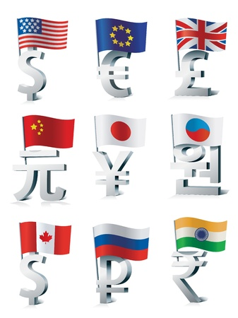 Signs of main world currencies.