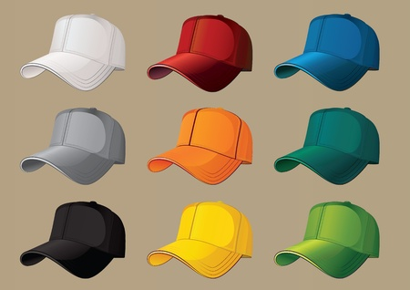 Set of nine color baseball caps. Illustration