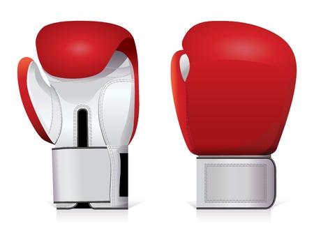 Un par de guantes de boxeo brillante, rojo y blanco. Ilustración de vector