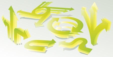 Set of 3D green arrows