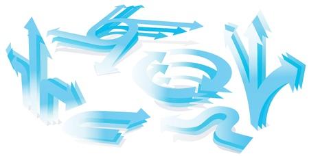 Set of 3D blue arrows.