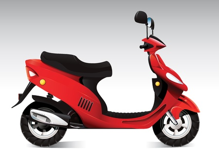 moped: Cool red scooter Illustration
