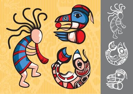 totem: Jeu de style am�ricains symboles indiens