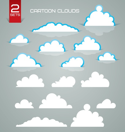 Two sets of cartoon clouds
