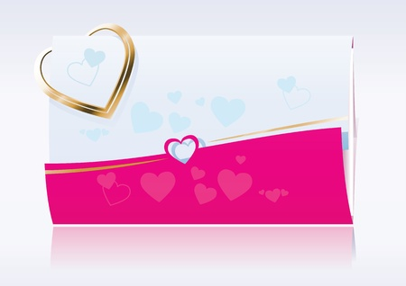 Love Message - Envelope decorated with hearts and a golden heart