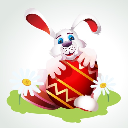 Illustration of Happy Easter bunny  Vector