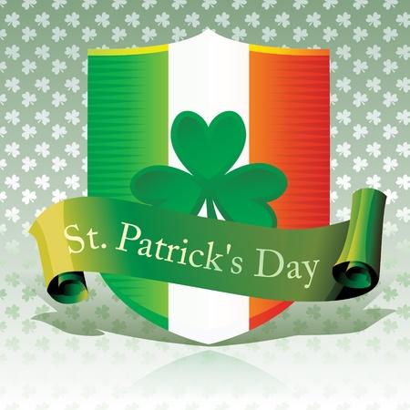 Saint Patrick s Day - Ireland Flag   Shamrock Shield
