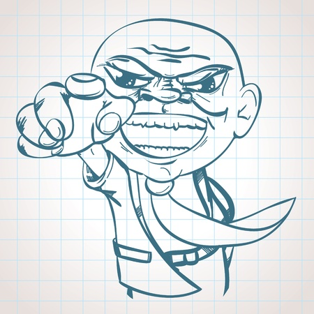 Sketched Angry Boss Vector