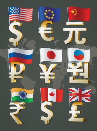 Golden signs of main world currencies.