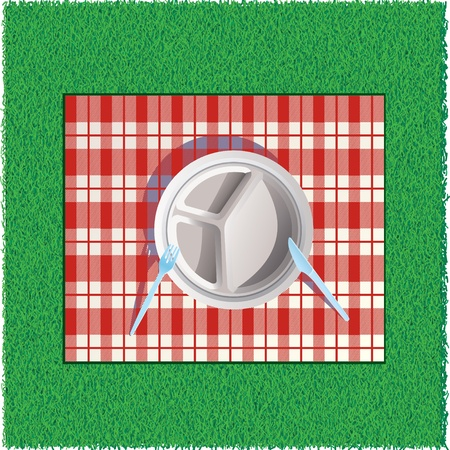 outdoor dining: Paper picnic plate on Red Tablecloth