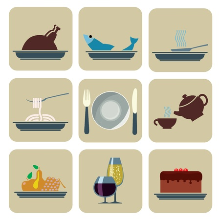 fruit cake: Set of Foods and Beverages Icons