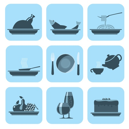 Set of Foods and Beverages Icons