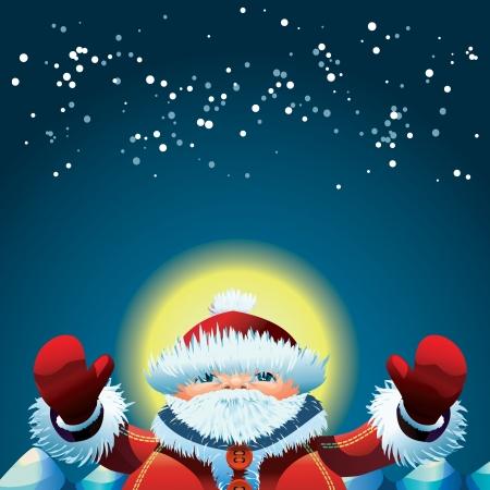 Santa Claus at the North Pole at New Year s night