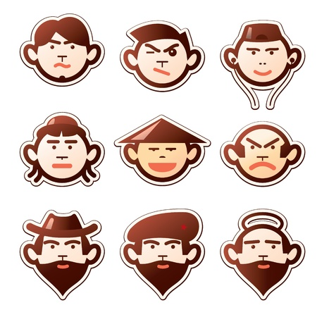 Set of various cartoon  faces and emotions Vector