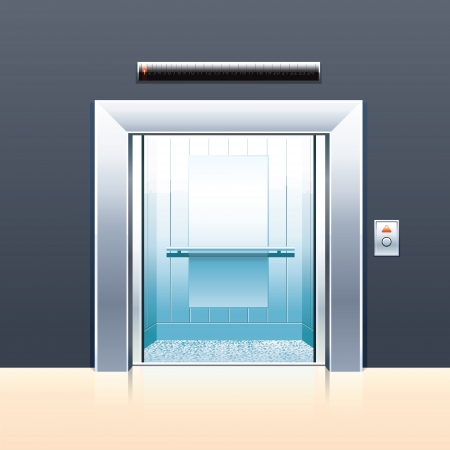 Passenger elevator with opened doors