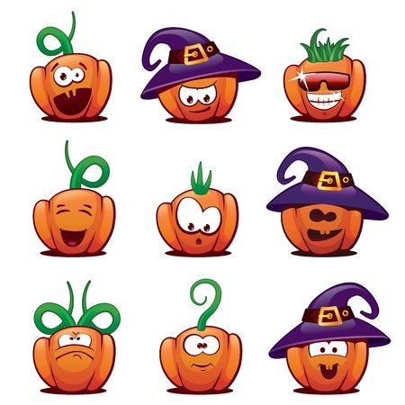 Set of Halloween Pumpkin Icons. Vector