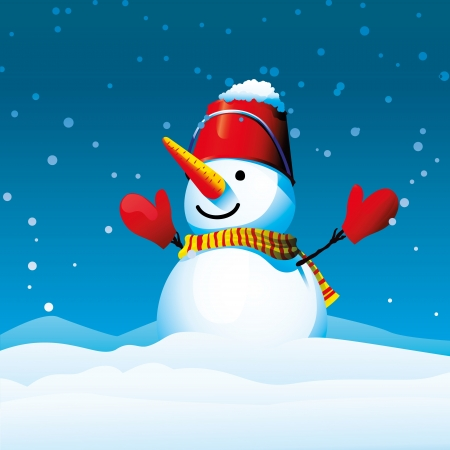 Happy snowman Stock Vector - 16663065