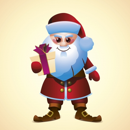 Cartoon Santa Claus with Gift Box