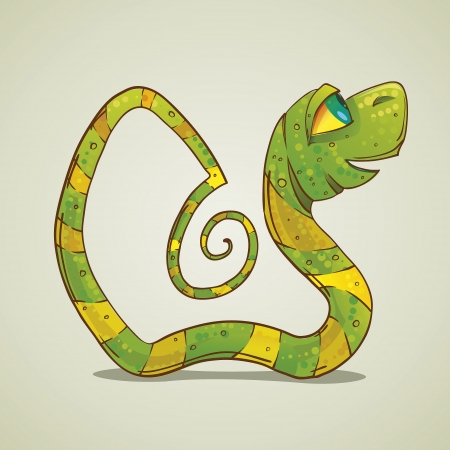 Cartoon illustration of a green snake Vector