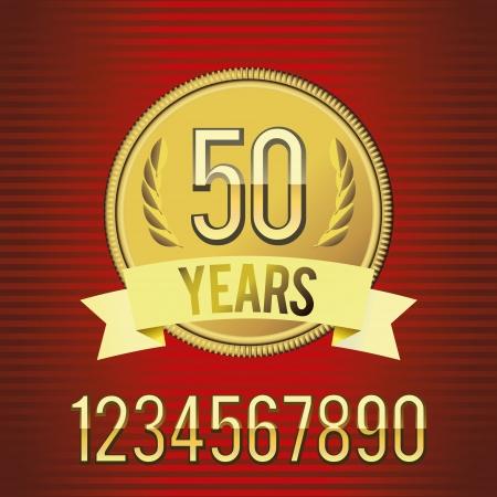 Vector illustration of golden emblem of anniversary