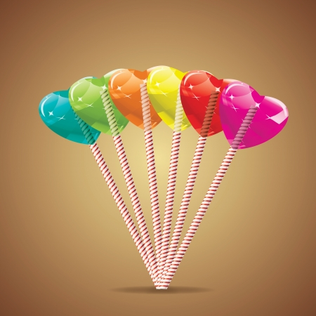 Set of varicolored heart lollipops  Illustration