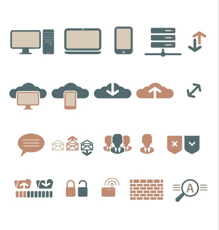 IT-bisiness and Digital Communication Icons Illustration