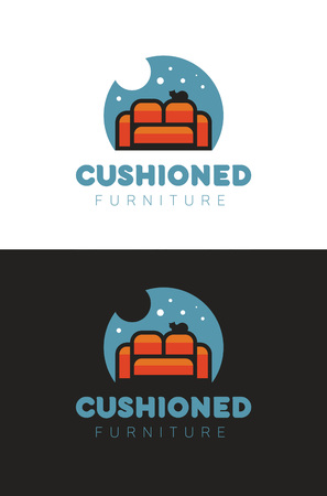 Cushioned furniture store icon on white and black background. Illustration