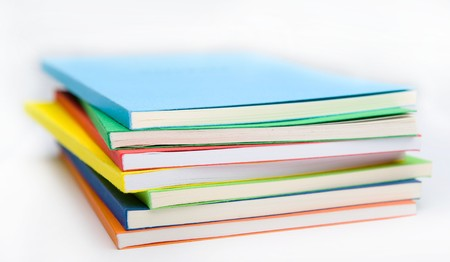 stack of coloured books photo