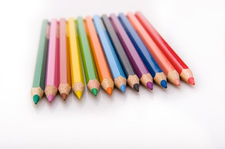 row of the colored pencils photo
