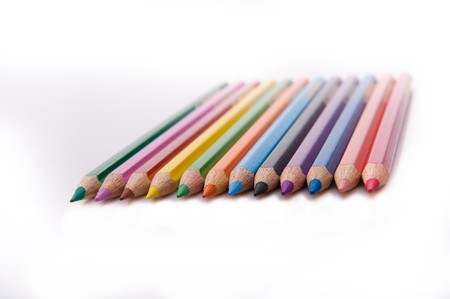sharpened: twelve sharpened colored pencils Stock Photo