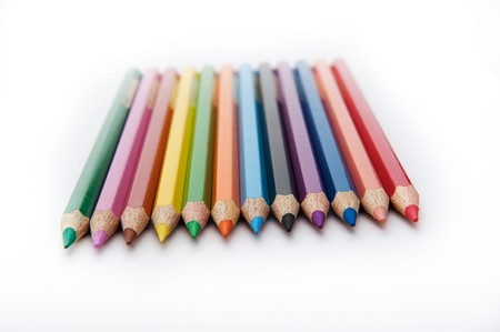 horizontal row of the colored pencils photo