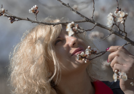 apricot tree: Portrait of beautiful blonde woman with curly hair near of the blossom apricot tree.