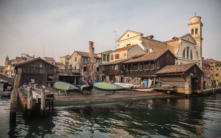 View on gondolas shipyard in Venice, Italy Stock Photo