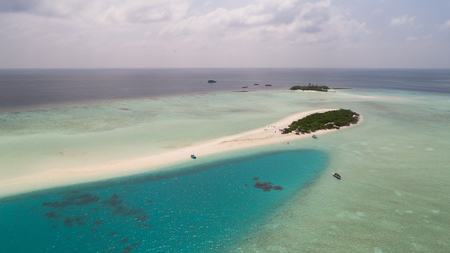 Amazing aerial view on the sand bank, Maldives