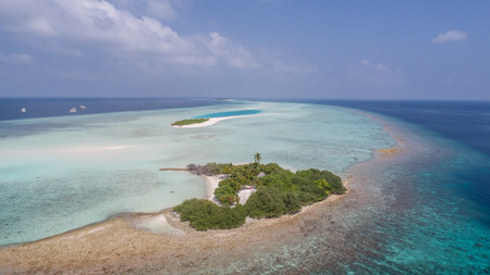 Aerial view on small island in Indian ocean, Maldives