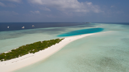 Aerial landscape of small island in Indian ocean, Maldives