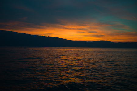 Beautiful sunset on the Italian lake Garda Stock Photo