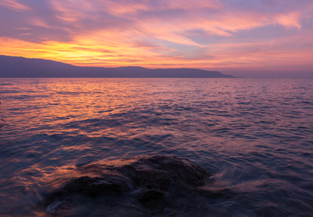 Beautiful sunset on the Italian lake Garda, medium format photo by Leica S
