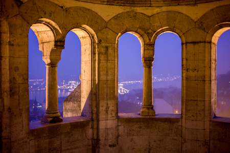Budapest view from an old summerhouse down to the Danube river in winter evening Stock Photo