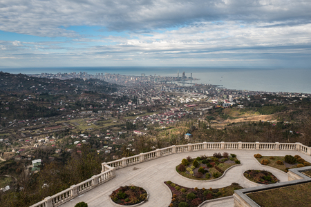 Panoramic view to Batumi city on the Black sea shore, Georgia. Point from the church.
