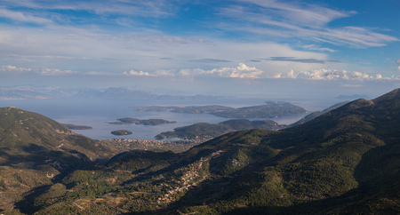 Wide panorama of classic Greek sea view from the mountain, summer, Lefkada island, Greece. Original image is 20500x11000 px in tiff and dng format Stock Photo