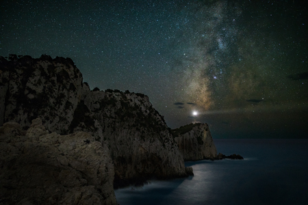 Night scene of lighthouse under milky way sky, Greece, Lefkada island