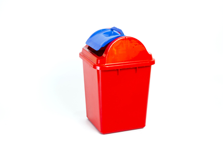 leavings: Plastic garbage bin with shadow on white background