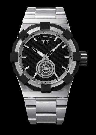 Luxury mens steel wrist watch with steel bracelet photo
