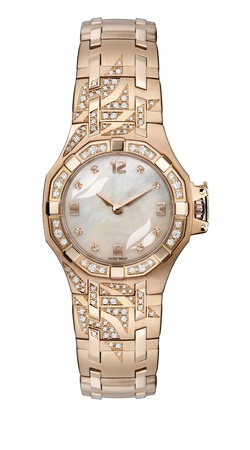 woman clock: Se�oras reloj pulsera de oro con la pulsera de oro Foto de archivo